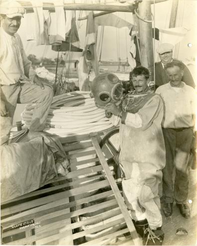 Men preparing for a dive on Tortugas Laboratory Trip, 1930.