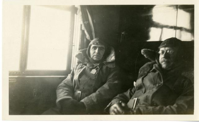 Astronomers Carl Clarence Kiess and Frank Bowers Littell onboard the dirigible.