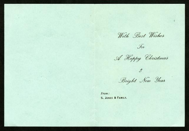 Inside of a Season's Greetings Card from S. Jones and Family to Isaac Ginsburg.