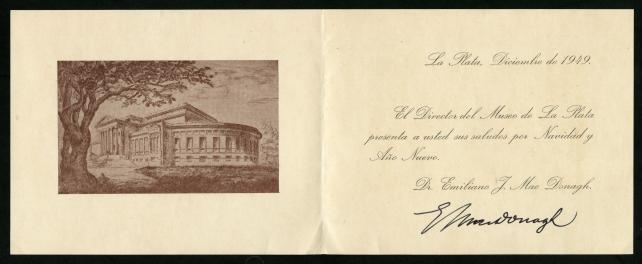Inside of a Holiday Card from Dr. Emiliano MacDonagh to Isaac Ginsburg.