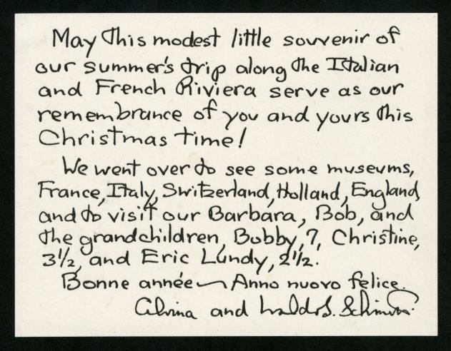Note from a Holiday Card from Alvina and Waldo Schmitt to Isaac Ginsburg.