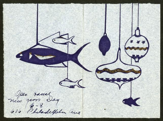 Inside of a greeting card sent to Isaac Ginsburg.