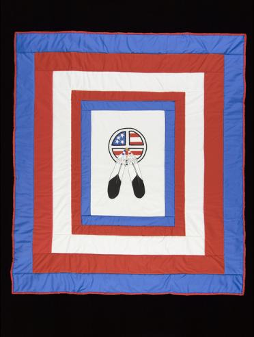 Quilt with Denver March Powwow logo design, 2001-2002, cotton cloth, National Museum of the American