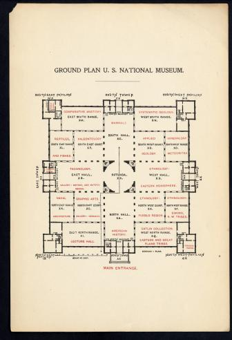 United States National Museum (Arts and Industries Building) floor plan, Information Files, Smithsonian Institution Archives.
