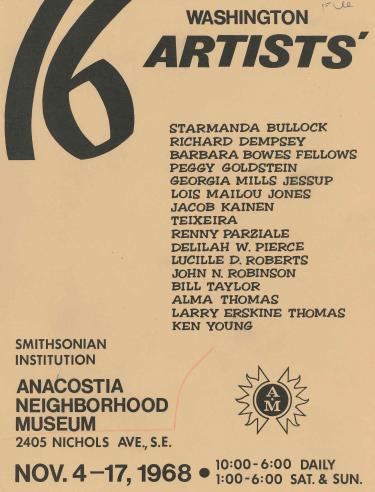 Exhibition brochure - 16 Washington Artists', Anacostia Neighborhood Museum, November 4-17, 1968.