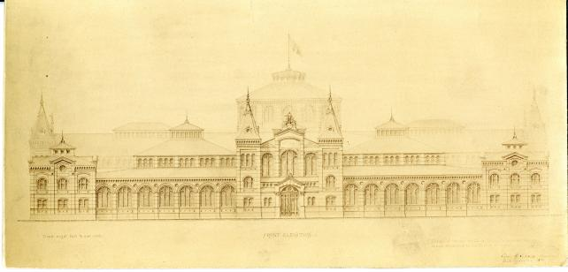 Etching of the new United States National Museum, now the Arts and Industries Building, designed by Adolph Cluss and Rudolph Schulze. Record Unit 95, Smithsonian Institution Archives, Neg. no. SIA2011-1080.