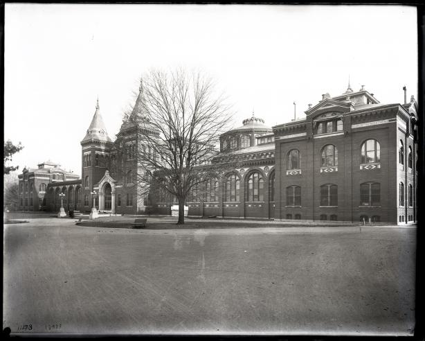 North façade of the exterior of the Arts and Industries Building. Record Unit 95, Smithsonian Institution Archives, Neg. no. SIA2012-1820.
