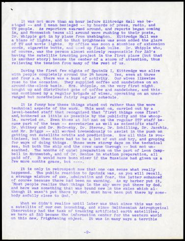 October 3, 1958 Memorandum from J. Allen Hynek to Satellite Tracking Program Staff on the first anniversary of Sputnik, page 2.