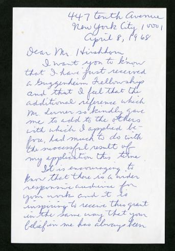 April 8, 1968, letter, De Niro to Hirshhorn
