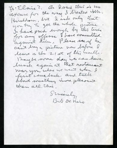July 10, 1973, letter, De Niro to Abram Lerner