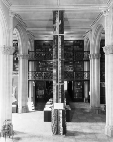 Book Tower comprised of Smithsonian Publications at the Conference on the Future of the Smithsonian,