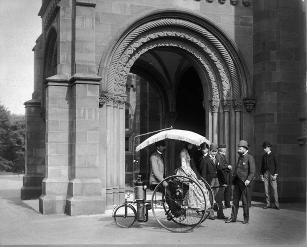 Steam Tricycle in Front of North Entrance to Smithsonian Castle, 1888, MAH-57818.