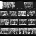 Collection of black and white negative contact sheet of images from the celebration of the 	Hillwood donation.
