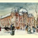 Painting of the Corcoran Gallery, now the Renwick Gallery, in the winter. People in winter overcoats stroll in front of the building.