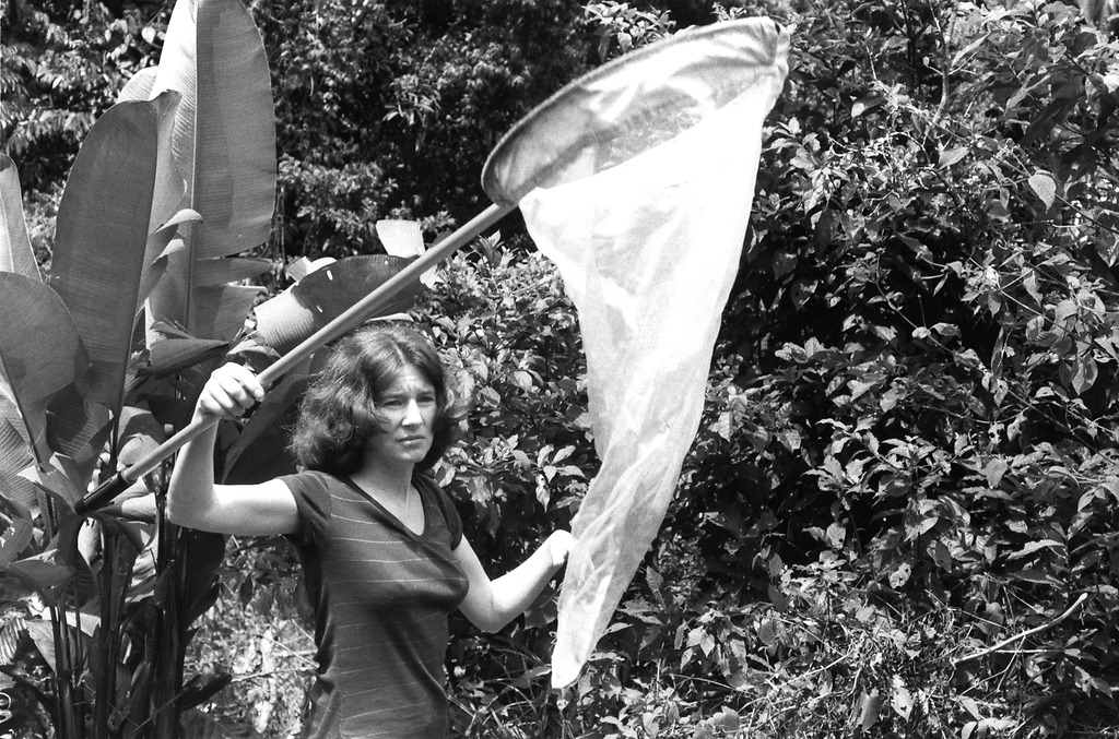 Aiello holds up a net in a forested area.